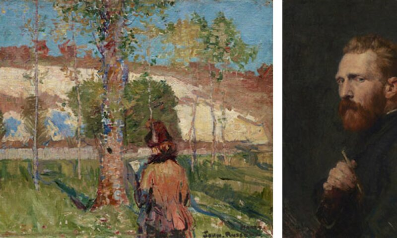 Left to right: John Russell Madame Sisley on the banks of the Loing at Moret 1887, Art Gallery of New South Wales; John Russell Vincent van Gogh 1886, Van Gogh Museum, Amsterdam (Vincent van Gogh Foundation)