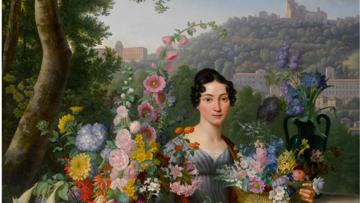 JEAN-FRANÇOIS BONY   PORTRAIT OF MADEMOISELLE ALBERT, FULL-LENGTH, SEATED IN A LANDSCAPE BESIDE A STONE VASE AND BASKETS FILLED WITH FLOWERS