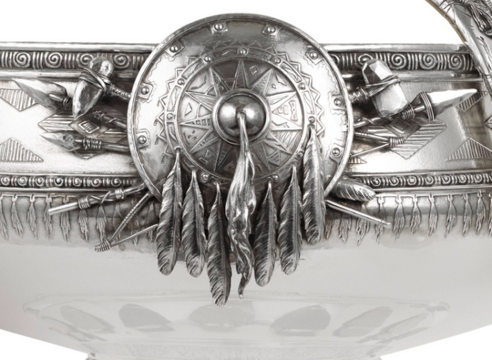 antique silver punch bowl in an auction selling old American silver