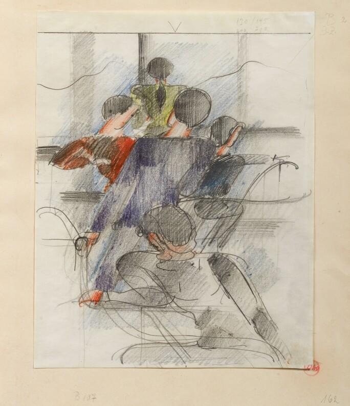 Oskar Schlemmer, Fünf Figuren am Geländer (Five Figures by the Handrail)