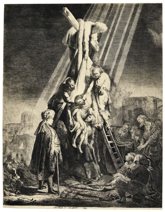 Black and white etching of Jesus being taken down from the cross.
