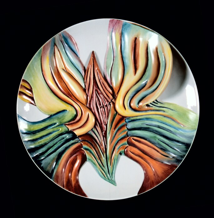 Judy Chicago, Mary Wollstonecraft Test Plate #8, from The Dinner Party, 1975-1978.