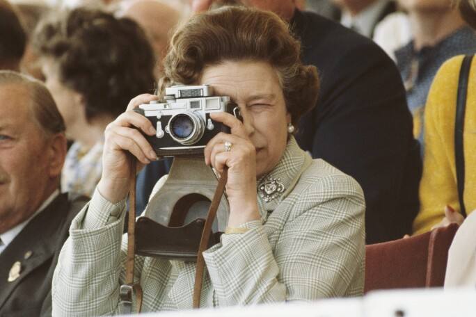 Queen Elizabeth II, wearing her engagement ring and the Cullinan V diamond heart brooch, at The Windsor Horse Show, 1982.