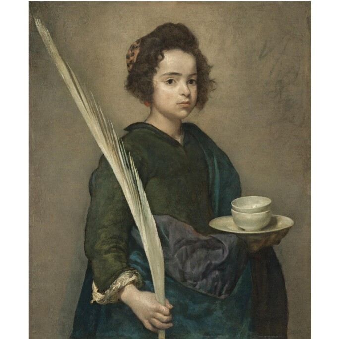 Painting of Saint Rufina, a child holding a plume in one hand and a plate with two bowls on top.