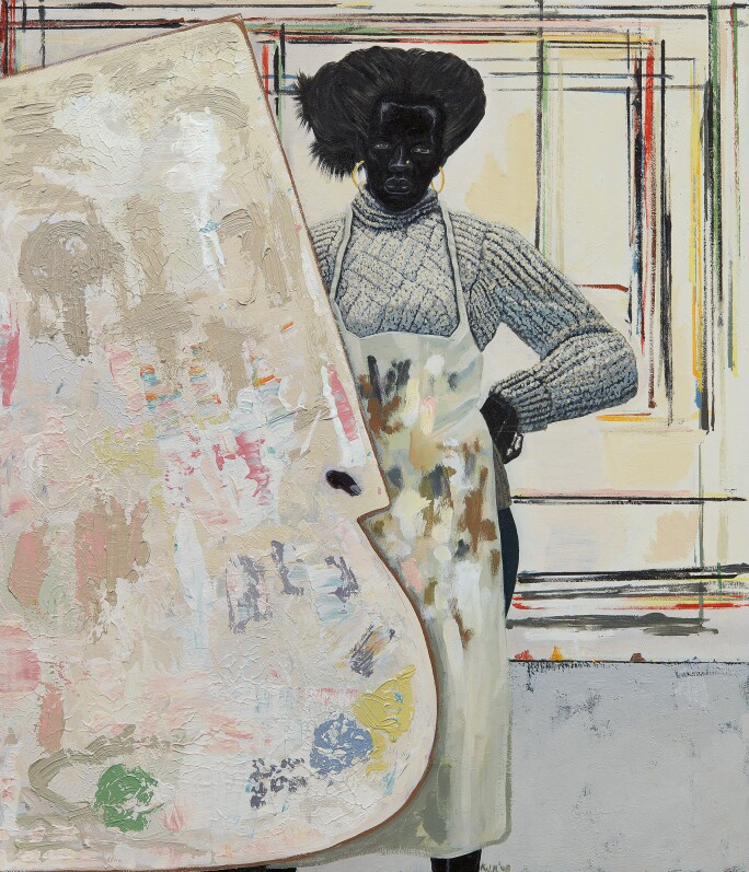 Portrait of a woman in a turtleneck and smock in a studio with a giant palette in front of her.