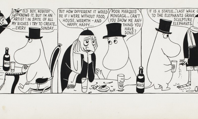 Tove Jansson,Comic strip Moomin on the Riviera, 1955, British Cartoon Archive, University of Kent. Photo: Finnish National Gallery / Jenni Nurminen.jpg