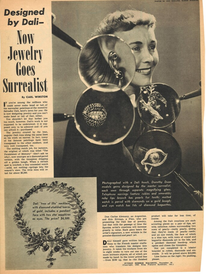 Newspaper clipping from 1949 about Dalí's jewelry