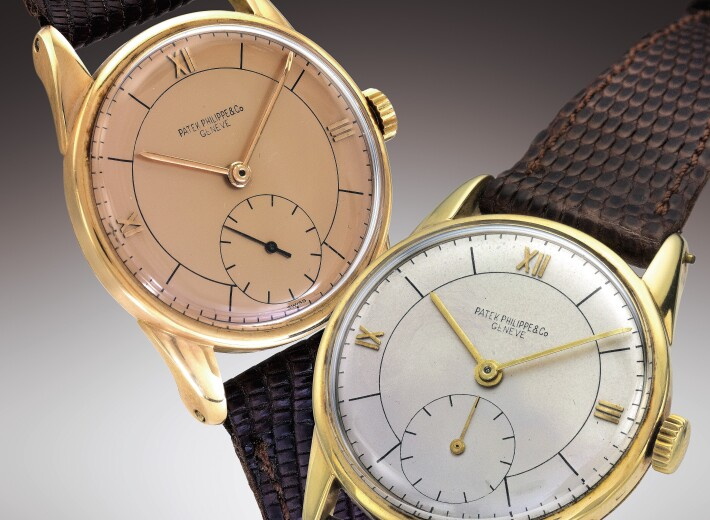 Two men's vintage patek philippe watches in an auction selling patek philippe watches
