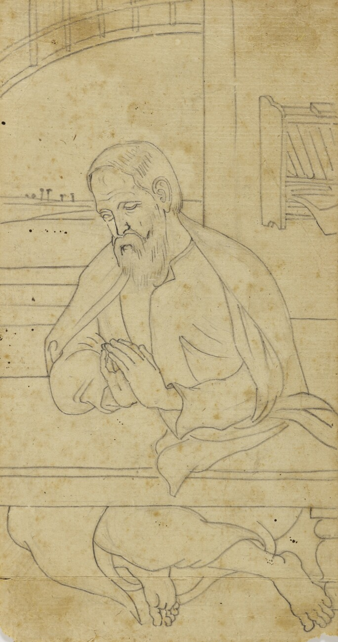 A drawing of a man praying at a table.
