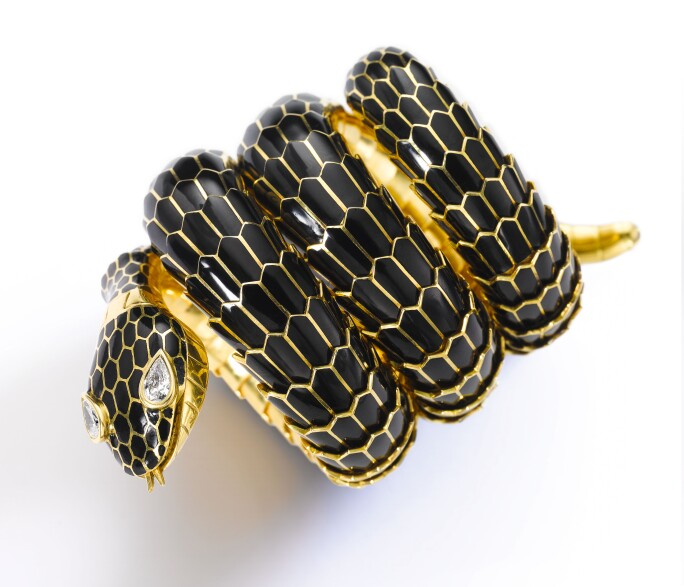 Enamel and diamond bracelet-watch, 'Mamba Nero', Bulgari. Estimate CHF 200,000-300,000.