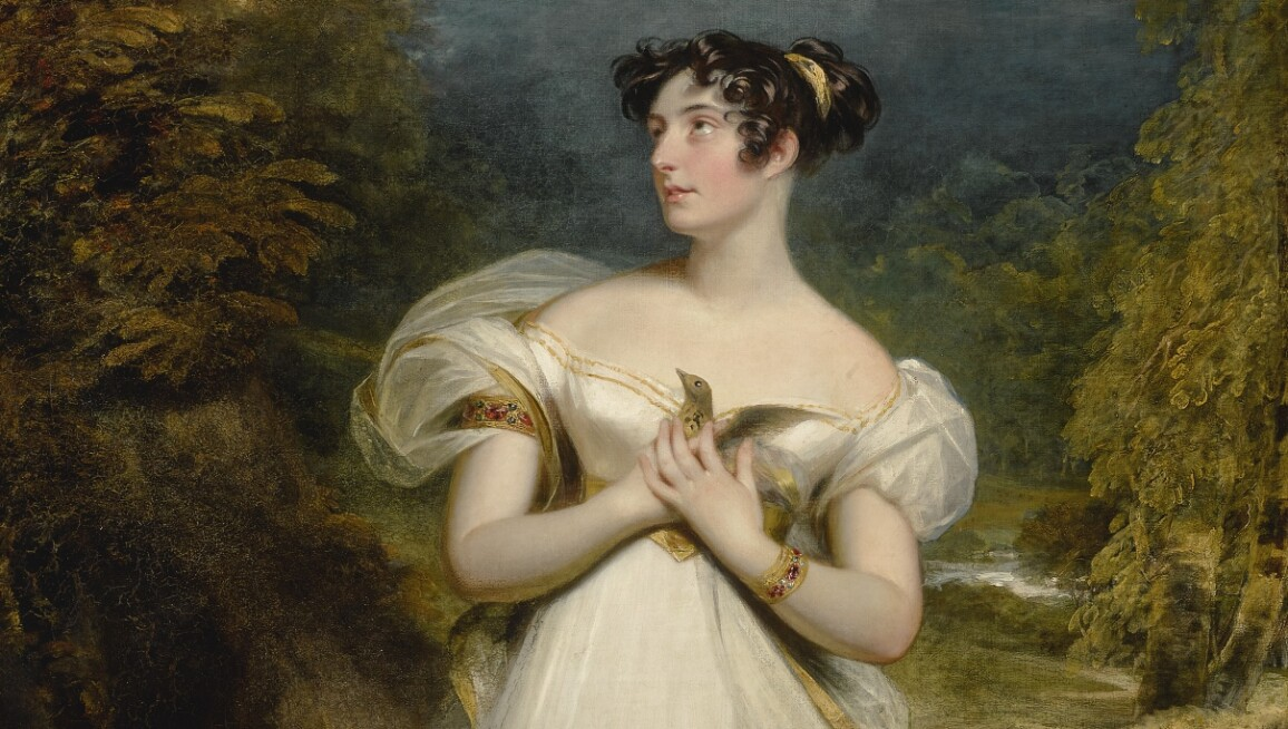 Sir William Beechey, R.A., Portrait of Miss Mary Payne, Later Mrs. Dolphin, Full-Length, in a White Gown and Holding a Thrush as an Eagle Swoops Toward Her, in a Wooded Landscape.