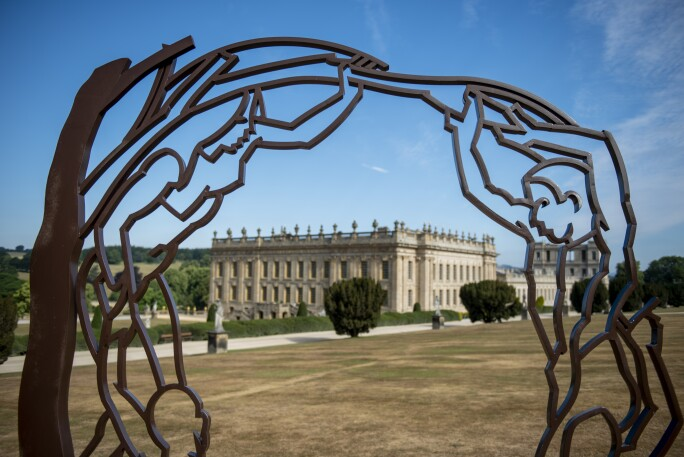 Sculpture from Chatsworth Outdoors exhibition -  'Screen' by Allen Jones, © Chatsworth House Trust