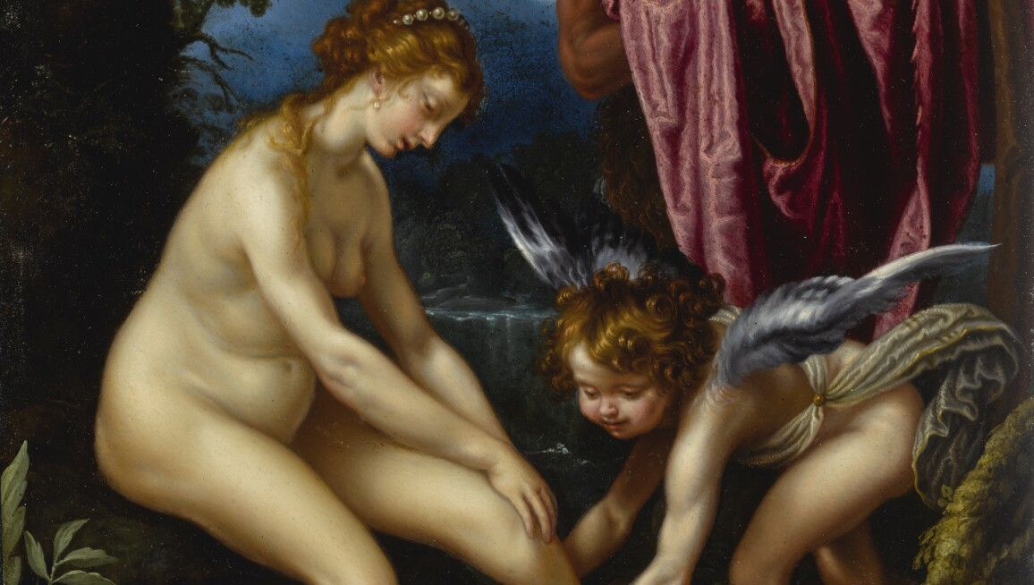 A scene of Venus, Cupid and a satyr.