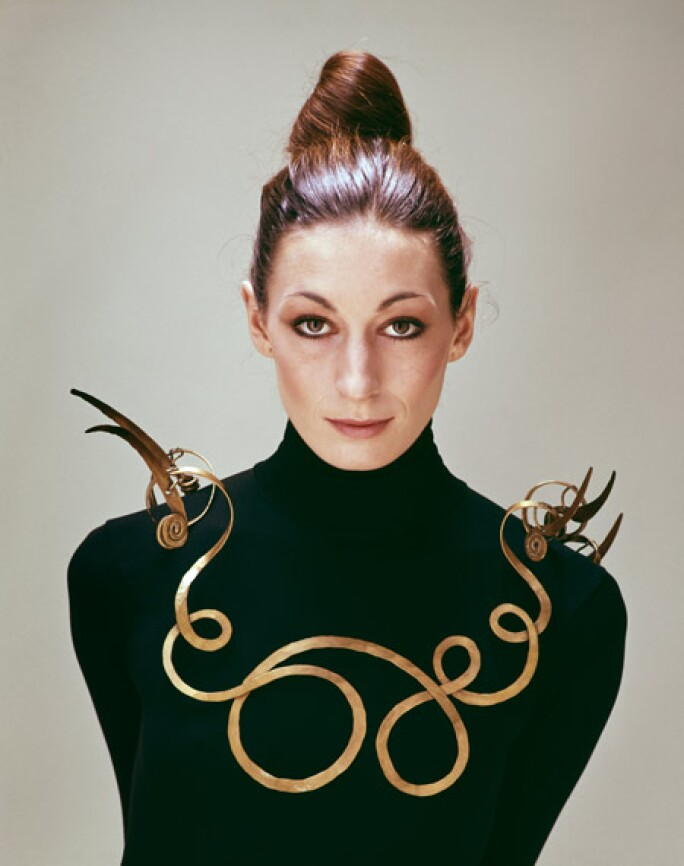 Anjelica Huston wearing a necklace by Alexander Calder
