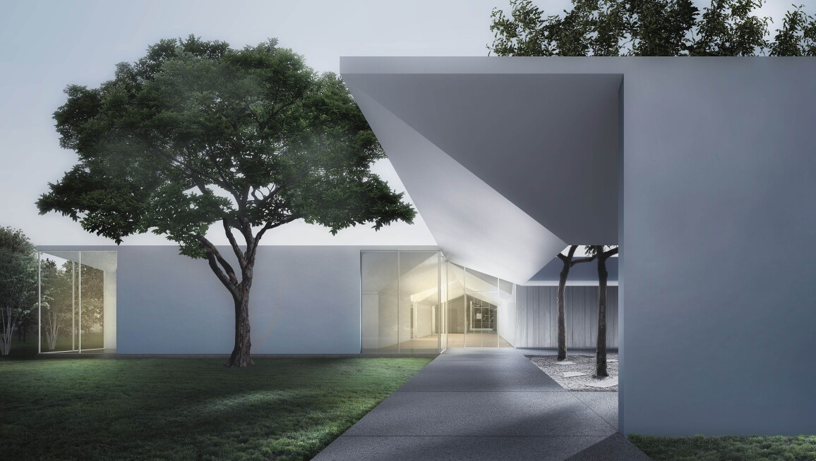 Menil Drawing Institute at dusk, looking past the west entrance courtyard