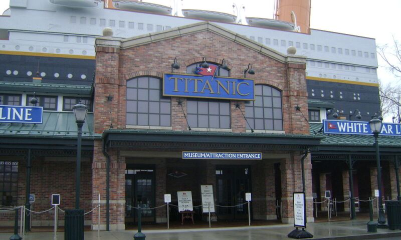 Exterior view of the Titanic Museum Attraction in Pigeon Forge, TN.