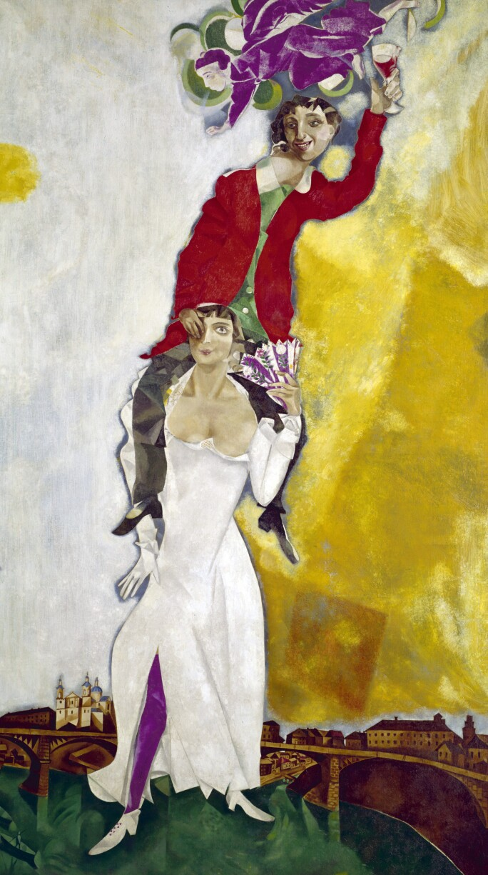 Marc Chagall, Double Portrait with Glass of Wine, 1917–18.
