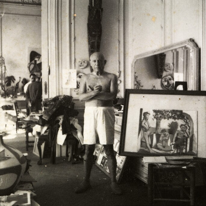 Picasso in his studio at La Californie  André Villers