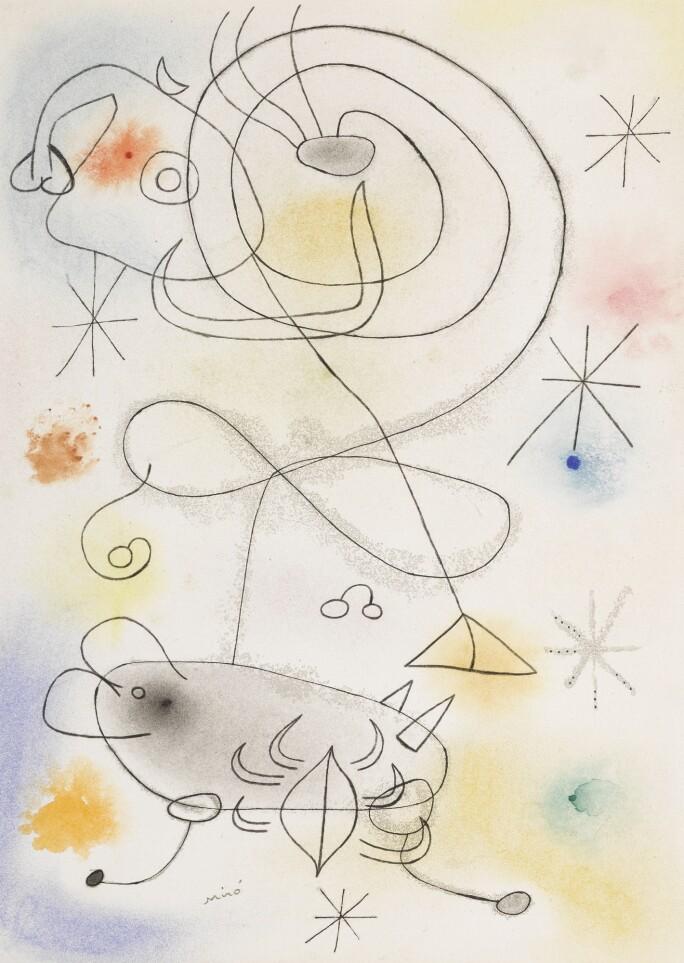 Lot 319, Joan Miró, Femme, oiseau, étoiles, watercolor, pastel, pen and ink and pencil on paper, 1942, Impressionist & Modern Art Day Sale, 13 November 2018. Estimate $120,000–180,000..jpg