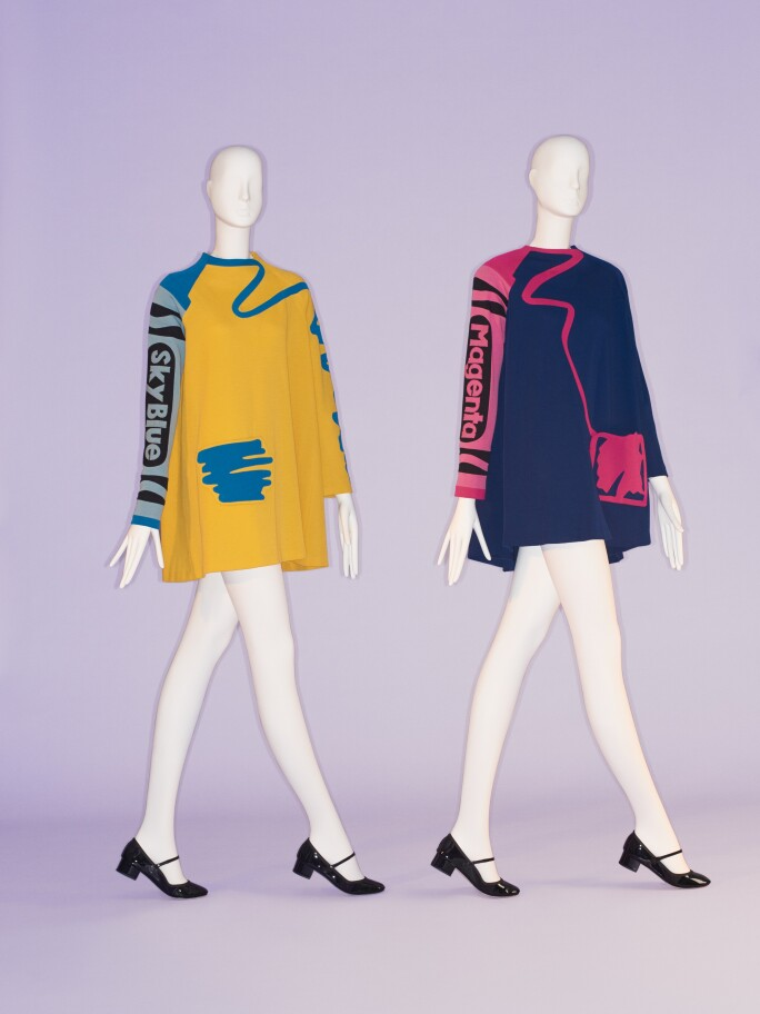 Shirt dresses with crayola crayon sleeves in magenta and sky blue