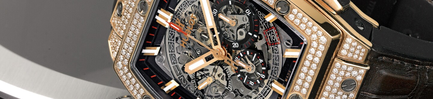 A Hublot Big Bang diamond watch in an auction selling hublot watches