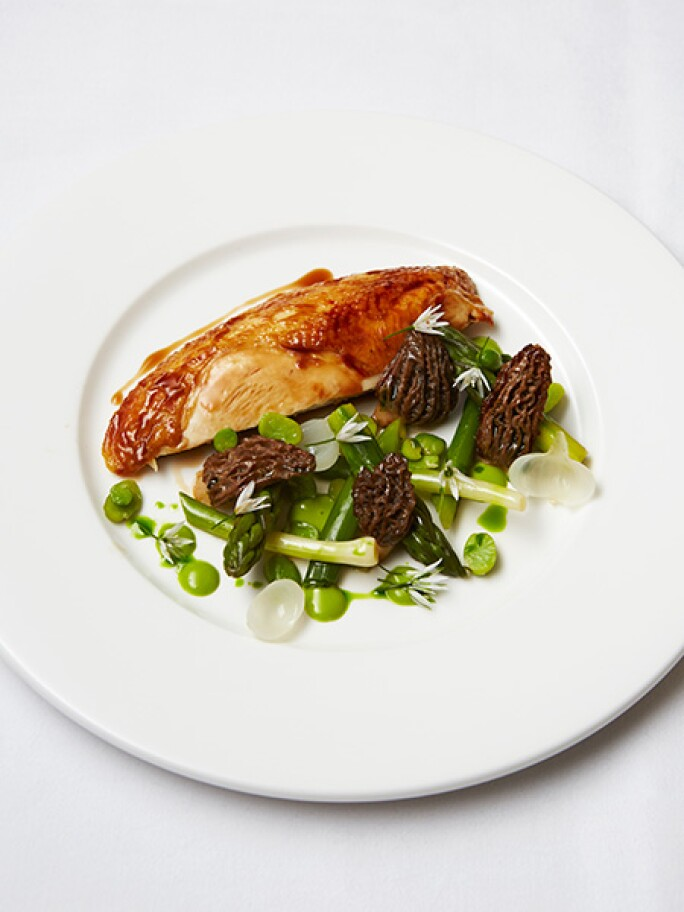 ROASTED LABEL ANGLAIS CHICKEN ,MORELS, WILD GARLIC EMULSION, SUMMER LEEKS, ENGLISH ASPARAGUS, ROASTED CHICKEN JUICES, a dish available at Sotheby's Restaurant