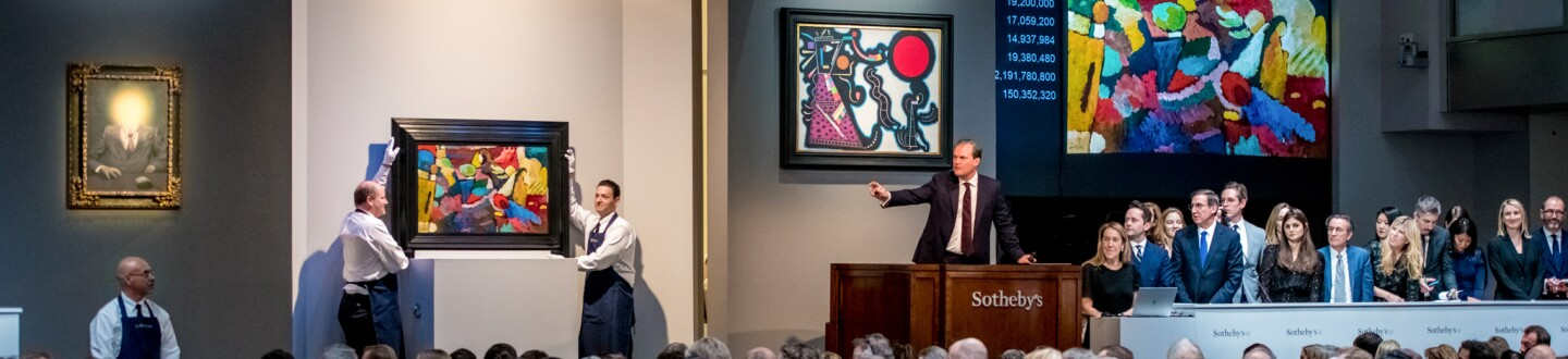 Auction Room with a Magritte and two Kandinksys
