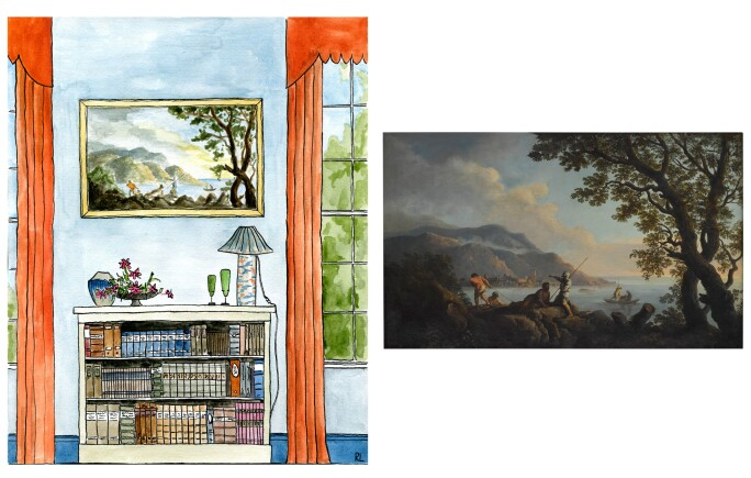 Drawing of a bedroom with a book shelf with a lamp, a vase, and flowers, as well as a landscape showing figures on a hillside over looking the sea.