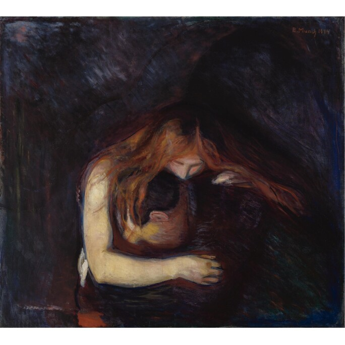 Edvard Munch painting of a vampire with long red hair sucking the blood of a man in black coat.
