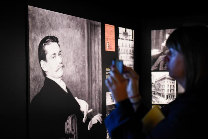 """London, UK. 23rd May, 2017. An image of Louis-Francois Cartier is seen at the press preview of """"Cartier in Motion"""", an exhibition on Cartier, co-curated by celebrated architect Lord Norman Foster and Design Museum director Deyan Sudjic, at the Design Muse"""