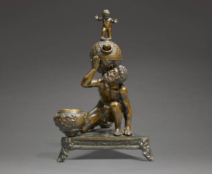 Attributed to Severo Calzetta da Ravenna (active 1496-1543), Inkwell and Oil Lamp in the form of Atlas supporting the Globe of Heaven. Estimate £20,000-30,000.
