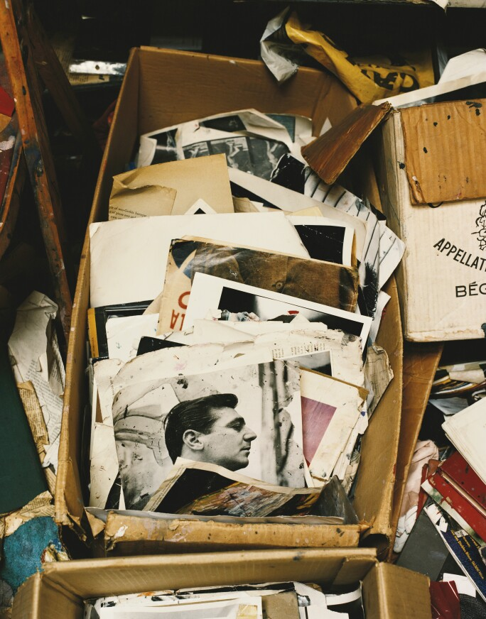 Francis Bacon's studio, featuring a photograph of George Dyer
