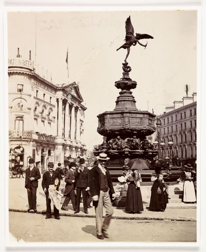 A photograph by Paul Martin of the statue of Eros in Piccadilly Circus, London, circa 1900.
