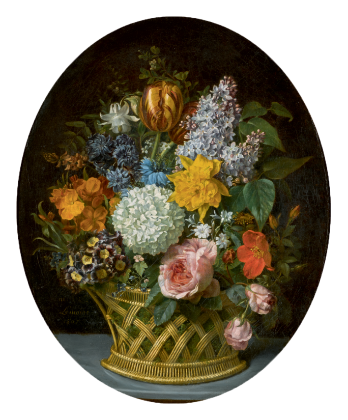 still life of spring flowers in basket