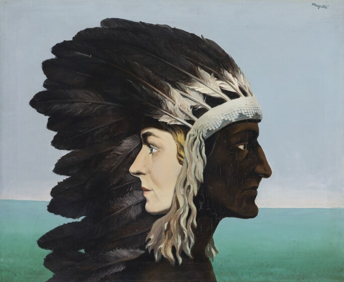 A surrealist image of the morning sky and sea with images of the profile of a blonde woman and an American Indian in headdress emerging from one another.