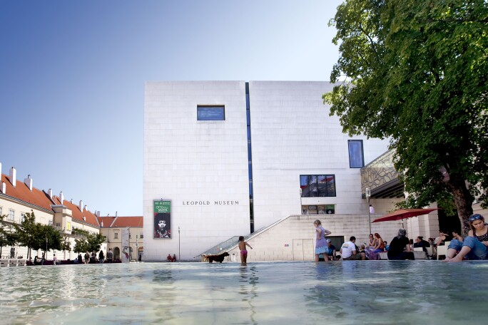 View of Leopold Museum Exterior in Vienna on a Sunny Day.