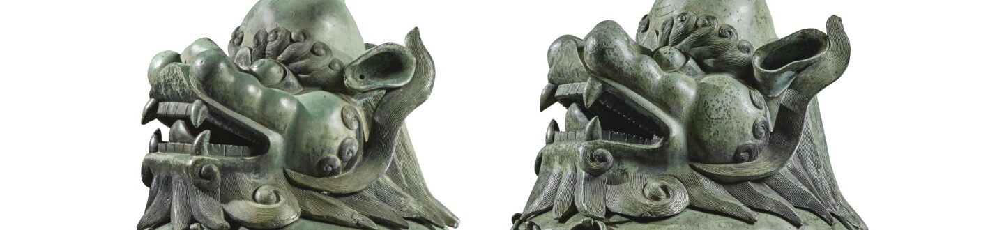 An Extremely Rare Pair of Massive Luduan-Form Bronze Censers, Qing Dynasty, Kangxi Period. Estimate $300,000–500,000.