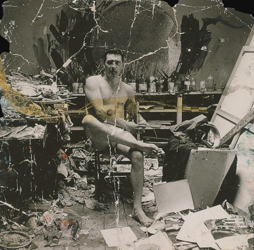 Black and white photograph (torn fragment) of George Dyer in Francis Bacon's Reece Mews studio