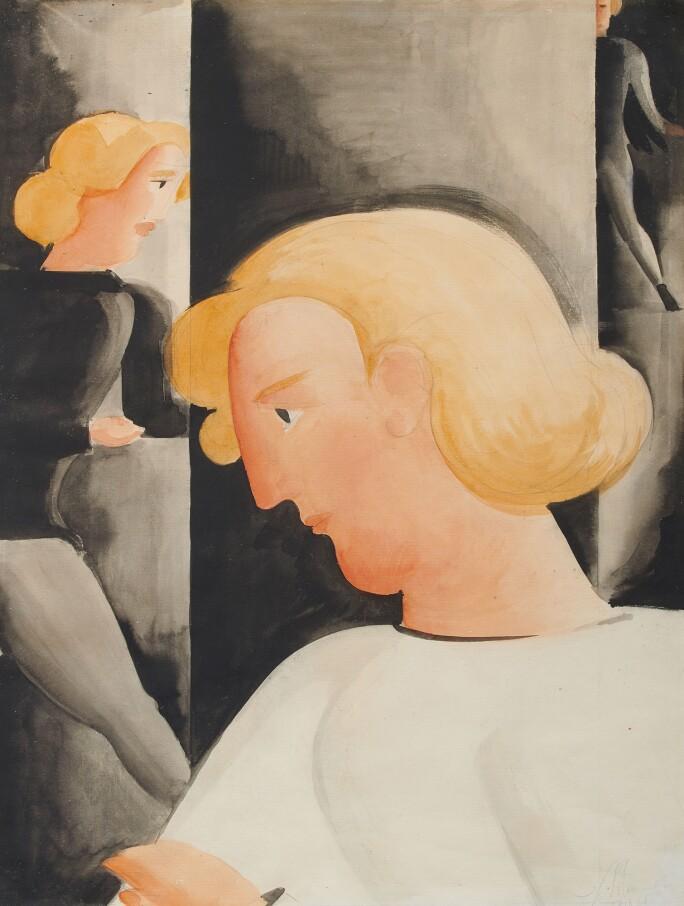 Oskar Schlemmer, Drei Blonde schräg (Three Blondes Diagonally)