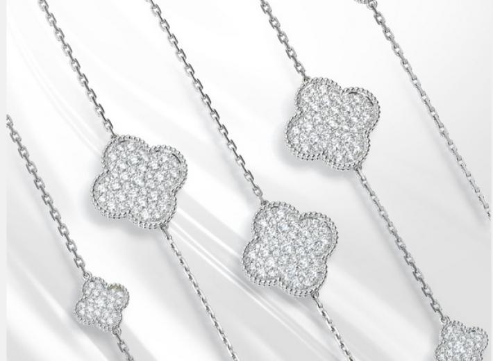 Van Cleef Alhambra necklaces in an auction selling Van Cleef & Arpels jewelry