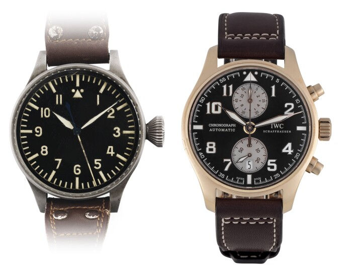 (L-R) IWC Chronograph Wristwatch, circa 1940; IWC, Antoine De Saint Exupéry, Limited Edition Pink Gold Chronograph Wristwatch, circa 2013. Estimate £6,000-8,000