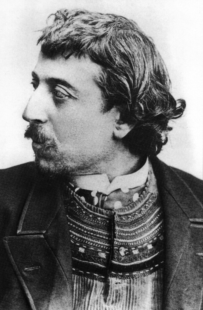 Paul Gauguin (1848-1903) french painter here in Copenhague in march 1891 with a breton cardigan, selfportrait dedicated to Carriere