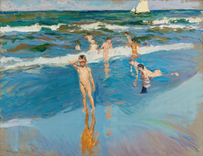 JOAQUÍN SOROLLA, CHILDREN IN THE SEA, VALENCIA BEACH, 1908