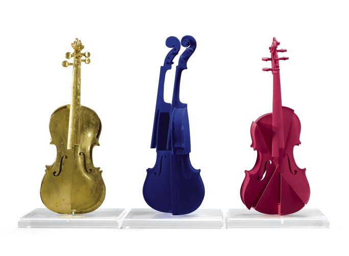 Three violins on pedestals, in gold, blue and pink.