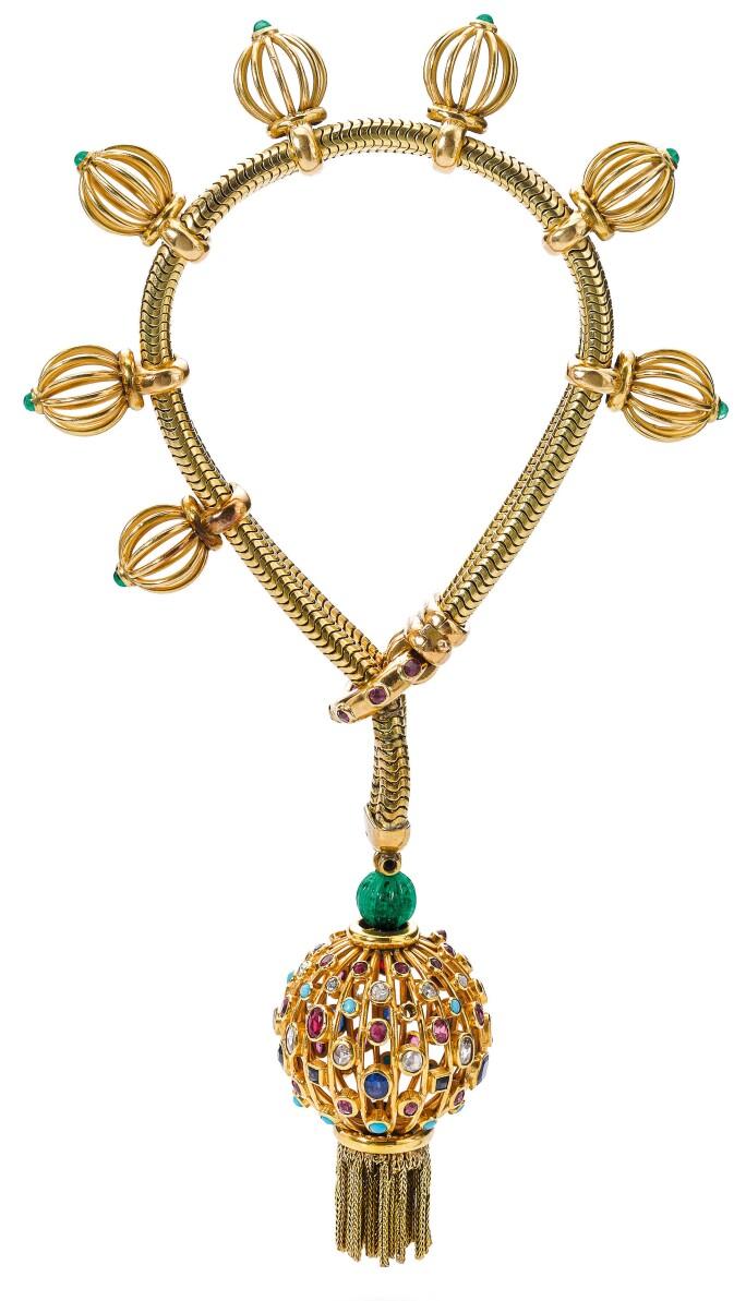 Gem set and diamond bracelet,  monture Boucheron, circa 1950. Estimate CHF 15,000-20,000.