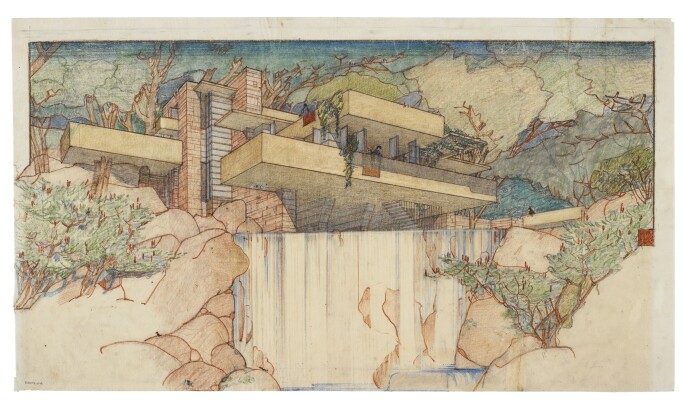 Frank Lloyd Wright, Fallingwater (Kaufmann House), Mill Run, Pennsylvania, perspective from the south