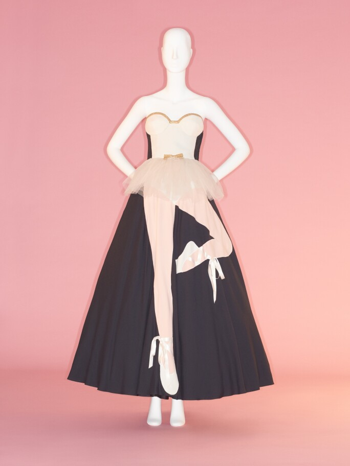 Moschino trompe l'oeil dress in black and pink with a ballerina leg print on dress skirt in pink