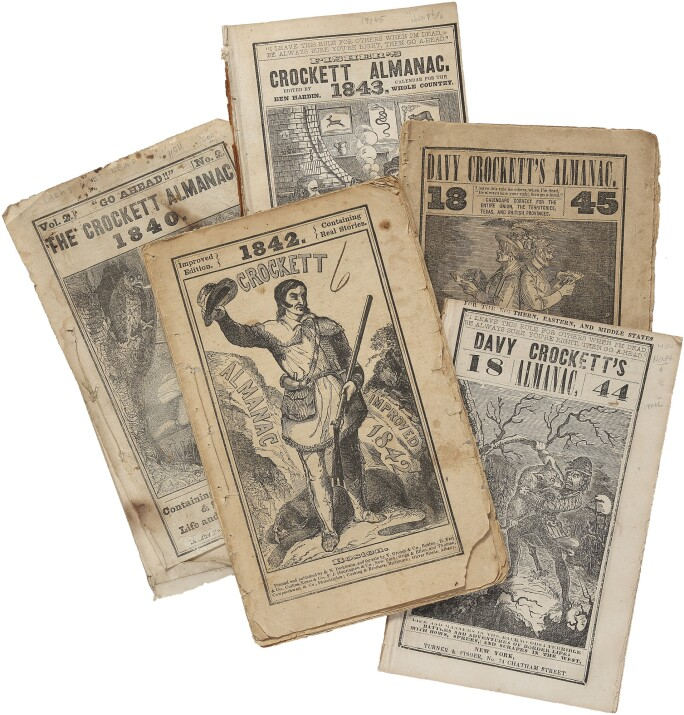 Almancks showing scenes from the life of Davy Crockett.