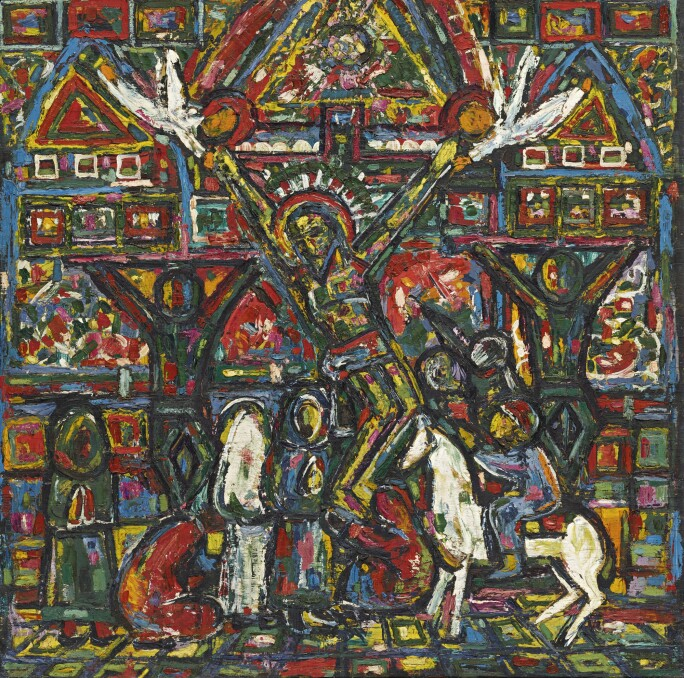 colorful painting with scene of crucifixion