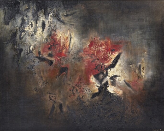 A Zao Wou-ki painting with a dark brown and black background and bold red and white passages.
